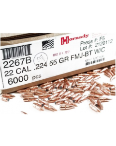 Hornady .223/5.56 55 Grain Full Metal Jacket Boat Tail(250 Count)